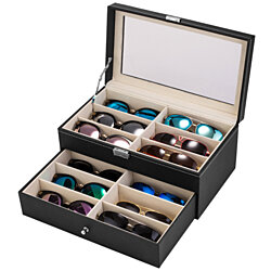 Leather 12 Piece Eyeglasses Storage and Sunglass Glasses Display Drawer Lockable Case Organizer Black