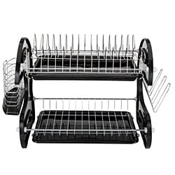 Multifunctional Dual Layers Bowls & Dishes & Chopsticks & Spoons Collection Shelf Dish Drainer