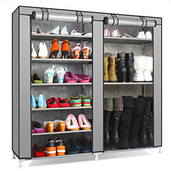 Double Rows 9 Lattices Combination Style Shoe Cabinet