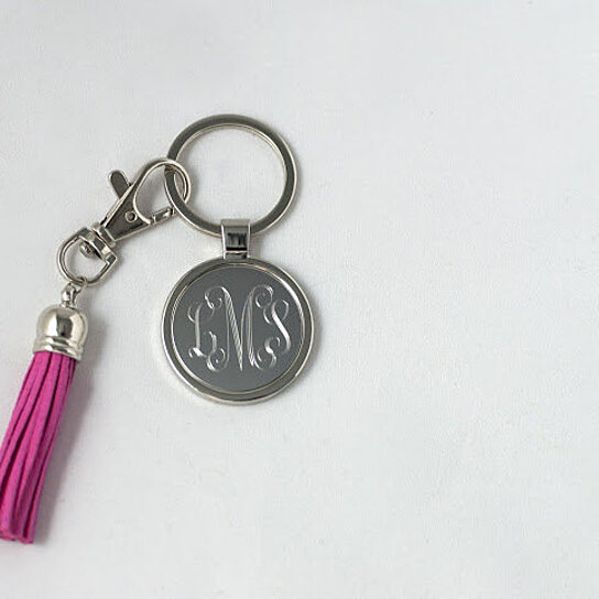 buy personalized monogrammed keychain with tassel