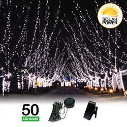 2 Pack: 50 LED Solar String Lights With Clip