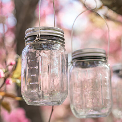 Solar Glass Mason Jar With LED Lid & Hook