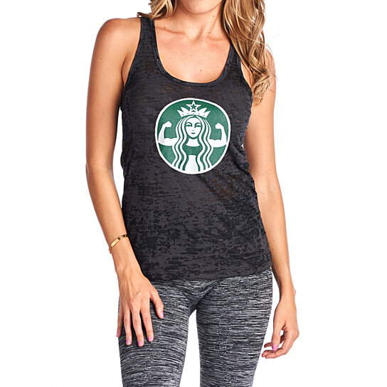 e6a264c9f5fde7 Buy Tough Cookie s Women s Starbucks Parody Workout Burnout Tank Top by Tough  Cookie Clothing on OpenSky