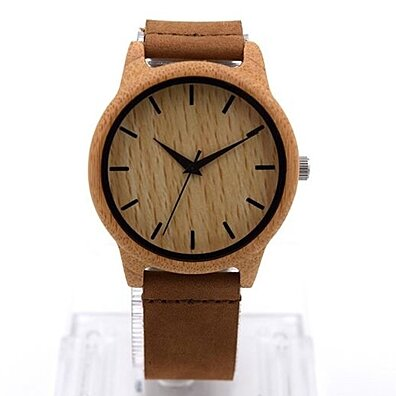 Natural Bamboo Wooden Watch with Leather Strap