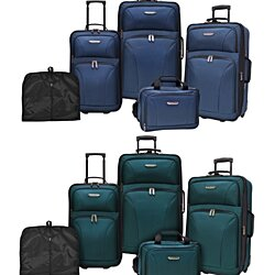 Traveler's Choice Versatile 5-Piece Lightweight Expandable Suitcases, Tote Bag, Garment Sleeve Rolling Luggage Set