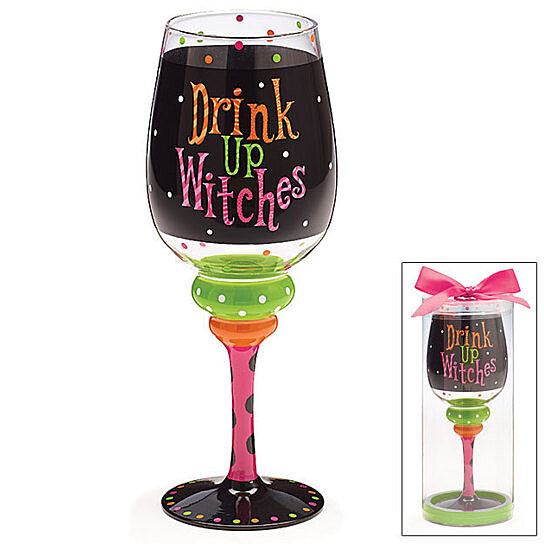 Buy Drink Up Witches Halloween Wine Glass Goblet By