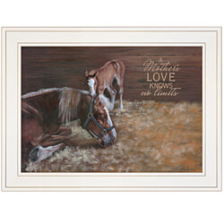 """A Mother Love (Horses)"" by Pam Britton, Ready to Hang Framed Print, White Frame"