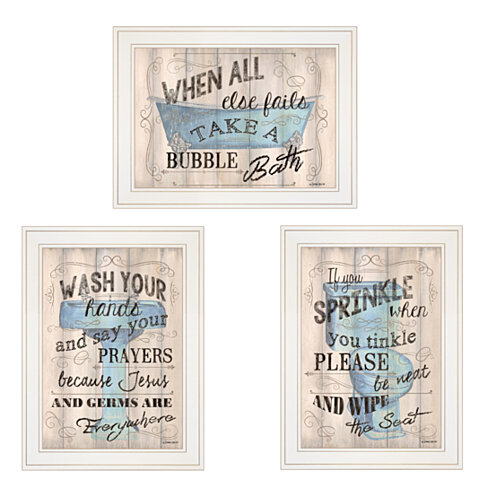 """Bathroom Humor"" 3-Piece Vignette by Debbie DeWitt, White Frame"