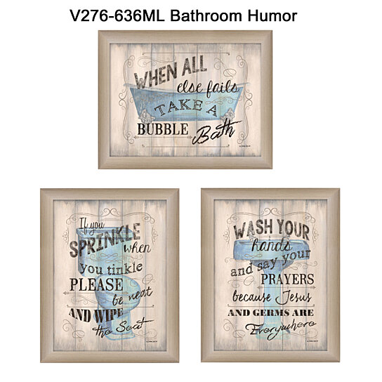 Bathroom Humor Collection By Debbie Dewitt Printed Wall Art Ready To Hang Beige Frame
