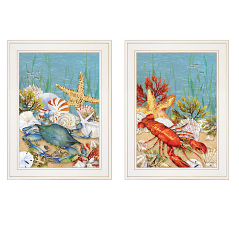 """Blue Crab / Lobster"" 2-Piece Vignette by Barb Tourtillotte, White Frame"