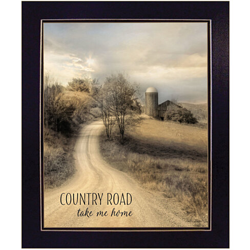 """Country Road Take Me"" by Lori Deiter, Ready to Hang Framed Print, Black Frame"