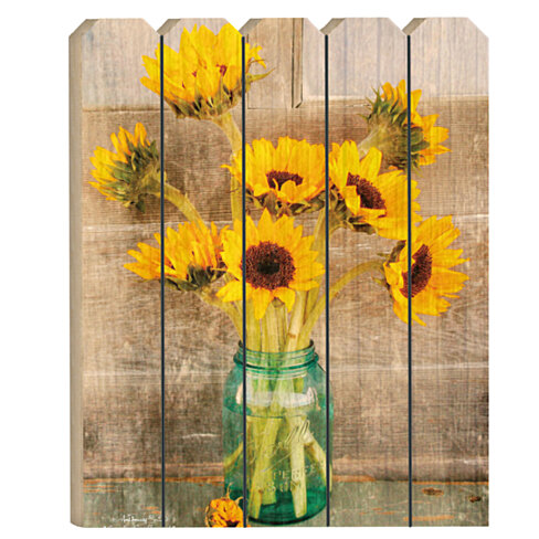 """Country Sunflowers"" by Anthony Smith, Printed Wall Art on a Large Wood Picket Fence"