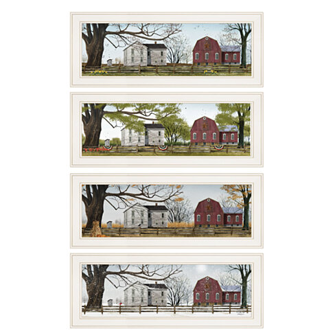 """Four Seasons Collection II"" 4-Piece Vignette by Billy Jacobs, White Frame"