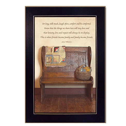 """Friends Become Family"" By Susan Boyer, 10"" x 14"" Printed Wall Art, Ready To Hang , Black Frame"