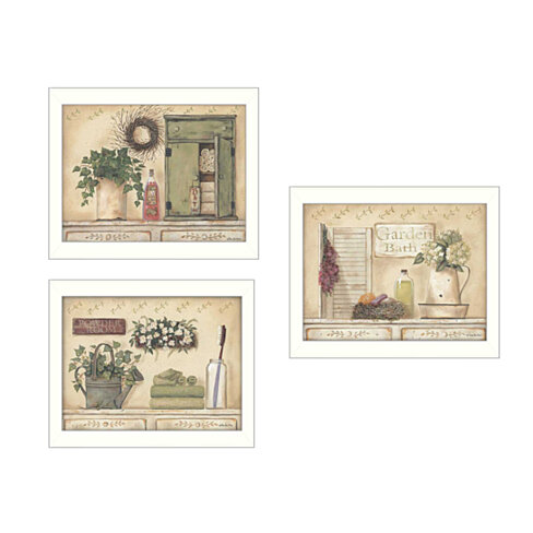 """Garden Bath"" 3-Piece Collection By Pam Britton, 14"" x 18"" Printed Wall Art, Ready To Hang , White Frame"