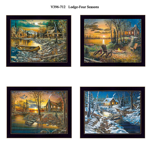 """Lodge - Four Seasons"" Collection By Jim Hansen, Printed Wall Art, Ready To Hang , Black Frame"