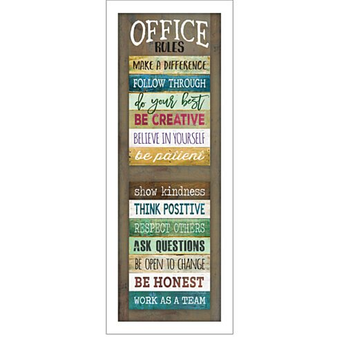 """Office Rules"" by Marla Rae, Ready to Hang Framed Print, White Frame"