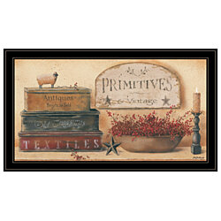 """Primitives & Vintage"" by Pam Britton, Ready to Hang Framed Print, Black Frame"