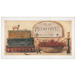 """Primitives & Vintage"" by Pam Britton, Ready to Hang Framed Print, White Frame"