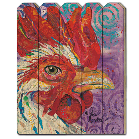 """Rooster"" by Lisa Morales, Printed Wall Art on a Wood Picket Fence"