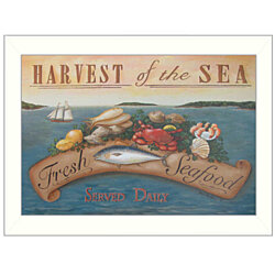 """Sea Harvest"" By Pam Britton, Printed Wall Art, Ready To Hang, White Frame"
