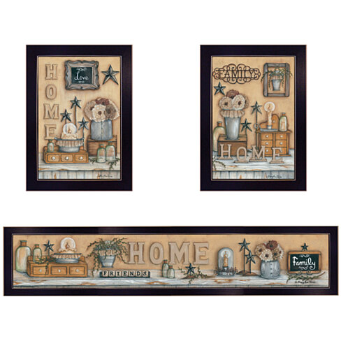 """Where Family & Friends Gather"" 3-Piece Vignette by Mary Ann June, Black Frame"