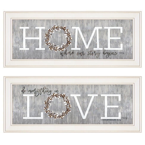 """Where Our Story Begins"" 2-Piece Vignette by Marla Rae, White Frame"