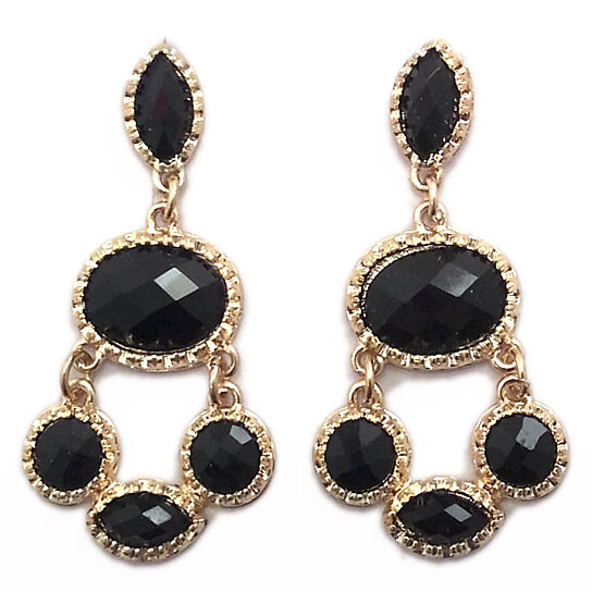 buy chandelier drop earrings in black and gold by