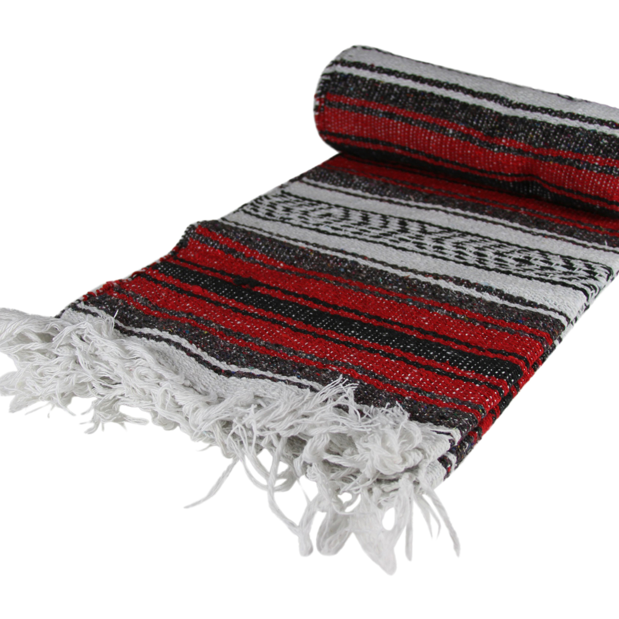 Mexican Falsa Yoga Handmade Imported Blanket Assorted Throw Red