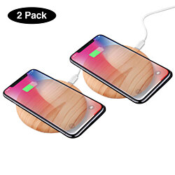 Natural Bamboo QI Wireless Chargers, 2 Pack