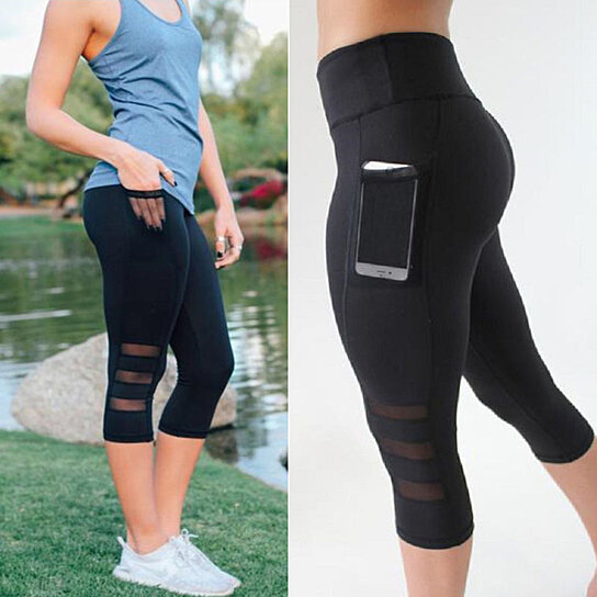 798c61e832 Trending product! This item has been added to cart 38 times in the last 24  hours. Women's Mesh Yoga Pants Workout Leggings With Side Pocket Active  Capri ...