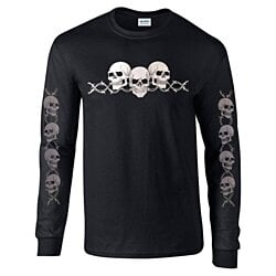 Barbed Wire Skulls with Sleeves Long Sleeve Biker T-Shirt