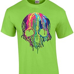Liquid Blue Neon Melting Skull Neon Skull Dripping Party T-Shirt