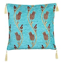 Turkish Rug Kilim Cushion Tulips in Turquoise Pillow cover