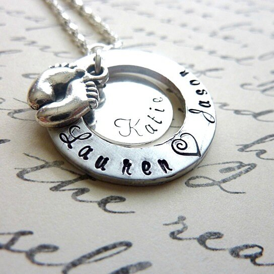 Baby Shower Gift Jewelry ~ Buy personalized new mommy necklace baby feet hand stamped