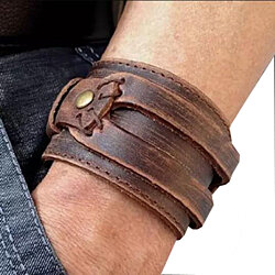 Unisex Genuine Wide Leather Casual Men's Brown Cuff Bangle Bracelet +Gift Box