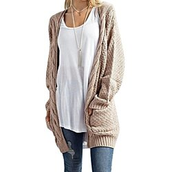 Women's Cosy Long Sleeve Button Wrap Open Fron Cable Knit Sweater Shawl Cardigans