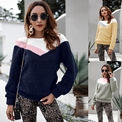 Fuzzy Fleece Long Sleeve Pullover Sweatshirt Top