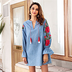 Jeans Blue Embroider Flower Tassel Tunic Dress