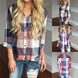Roll Tab Sleeve Plaid Classic Blouse Shirt Top