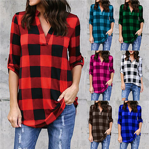Buffalo Plaid Split-Neck Tunic, S-5x, Multiple Colors