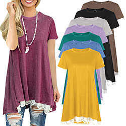 Lace Trim Sea Waves Tunic In 8 Colors