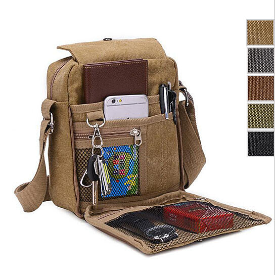 52a38109ba4d Buy Men Small Vintage Canvas Leather Satchel School Military Shoulder Bag  Messenger by Ufashion on OpenSky