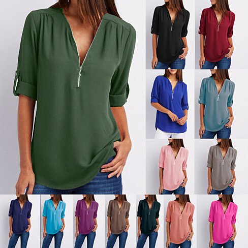 Modern Zip-Front Roll Sleeve Blouse, S-5x, Multiple Colors