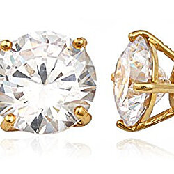 Real 925 Sterling Silver Clear Cz Stone Round Stud Earrings (yellow-gold-plated-silver, 9 Millimeters)