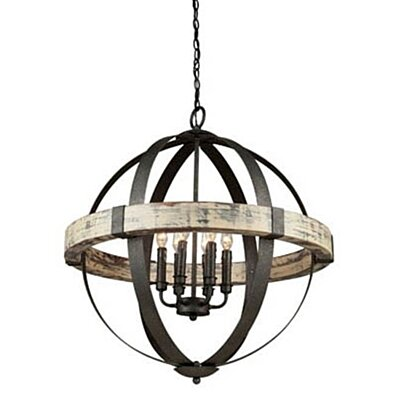 Artcraft Lighting AC10016 Six Light Chandelier, Black Finish