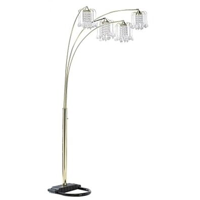 Ore International 6966G Polished Brass - Finish Floor Lamp with Crystal - Like Shad