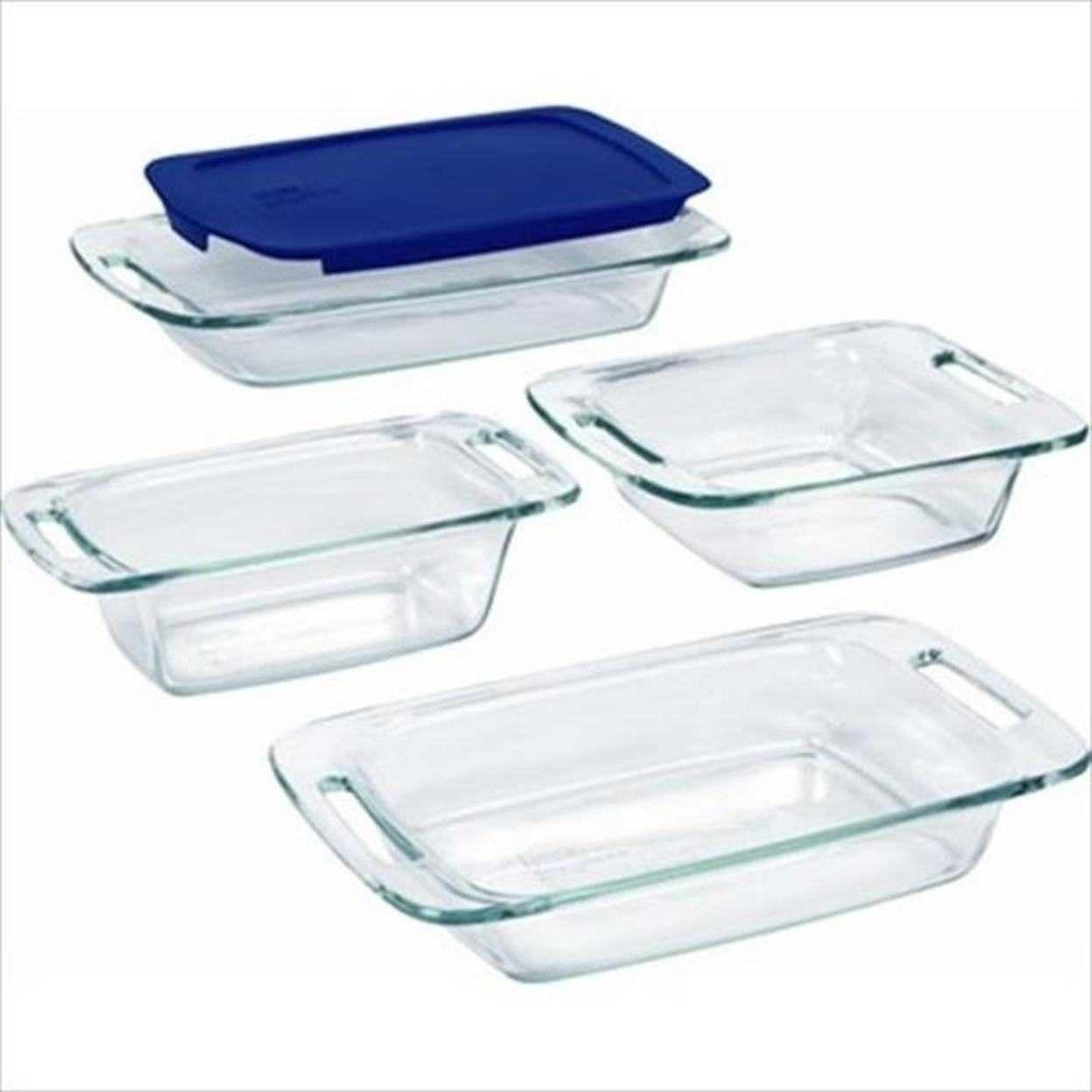 Pyrex 1093842 Glass Easy Grab Bake Set with Blue Plastic Cover - 5 Pieces 596d35962a00e402301f61ea