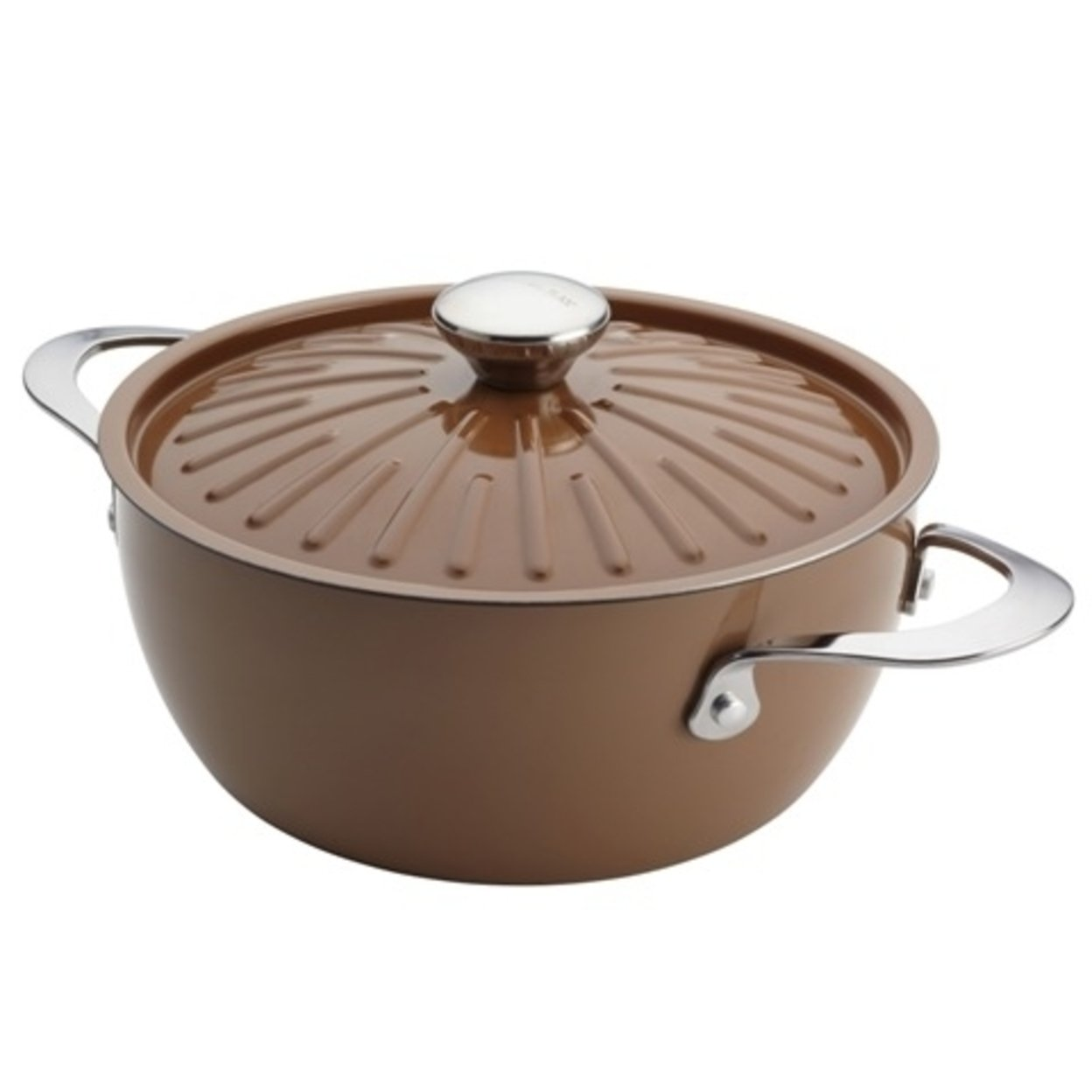 Rachael Ray 16289 Cucina Oven-To-Table Hard Enamel Nonstick 4.5-Quart Covered Round Casserole Mushroom Brown 5a3c4ea42a00e457775ee511