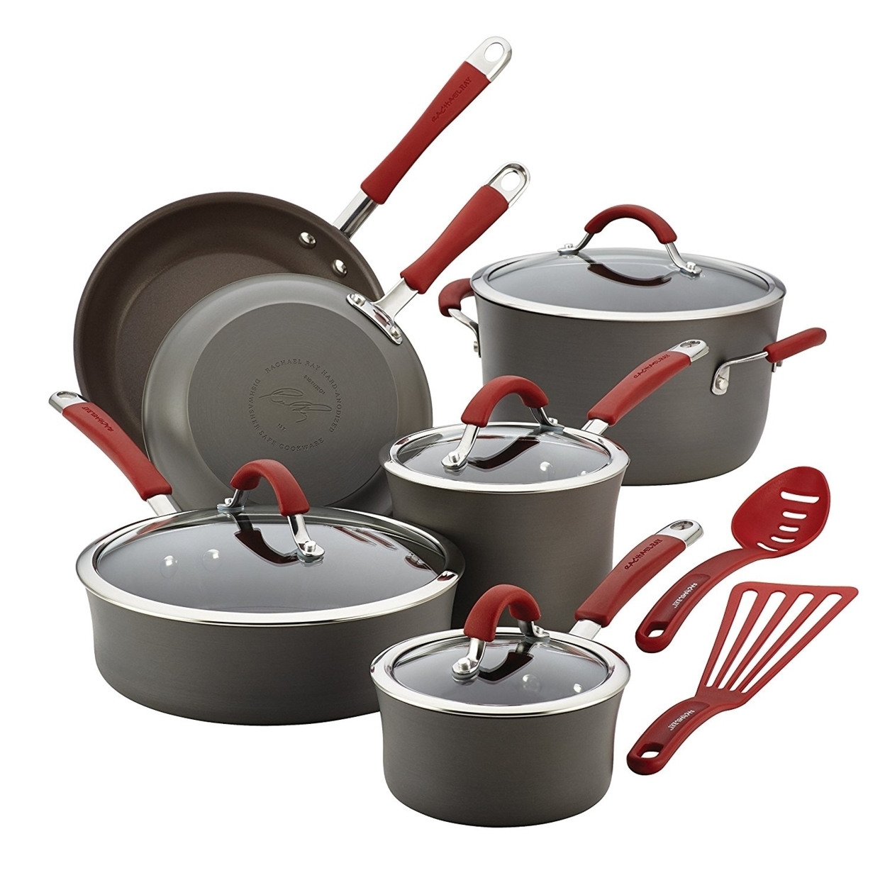 Rachael Ray 87630 Cucina Hard-Anodized Nonstick 12-Piece Cookware Set, Gray With Cranberry Red Handles 596e27342a00e45920203074
